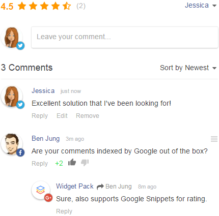 Image result for Comment Rating Widget